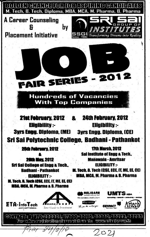 Job Fair series 2012 (Sri Sai Group of Instituties (SSGI))