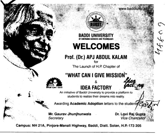 Welcomes Prof Dr APJ Abdul Kalam (Baddi University of Emerging Sciences and Technologies)