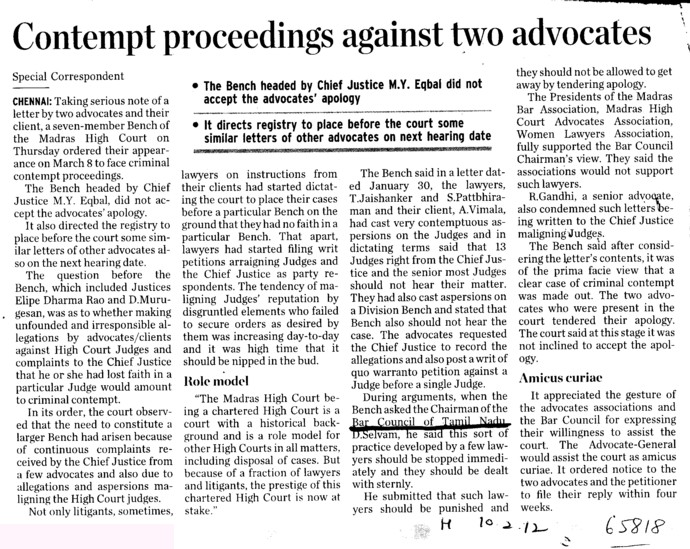 Contempt proceedings against two advocates (Bar Council of Tamil Nadu)