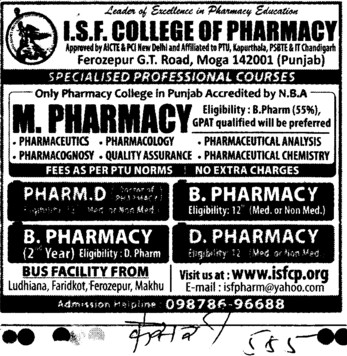 B Pharmacy and M Pharmacy Courses (ISF College of Pharmacy)