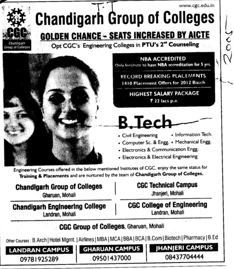 BTech in various streams (Chandigarh Group of Colleges)