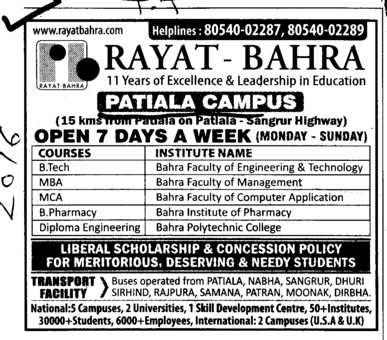 Btech, MBA and MCA Courses etc (Rayat and Bahra Group)