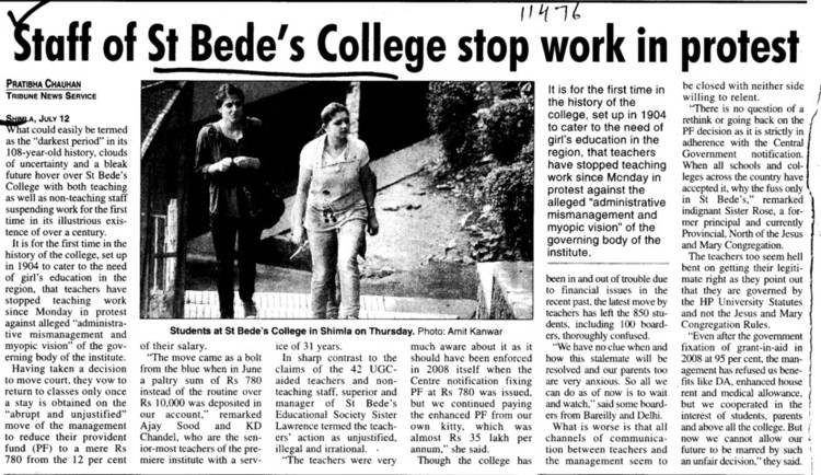 Staff of St Bedes College stop work in protest (St Bedes College)