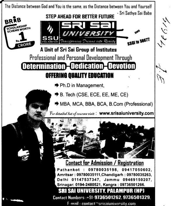 BBA, BCA, BCom and PhD Programmes etc (Sri Sai University)