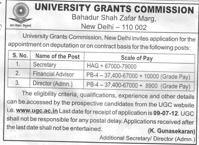 Secretary, Financial advisor and Director (University Grants Commission (UGC))