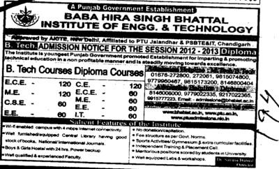 Diploma Course in Btech (Baba Hira Singh Bhattal Institute of Engineering and Technology (BHSBIET))