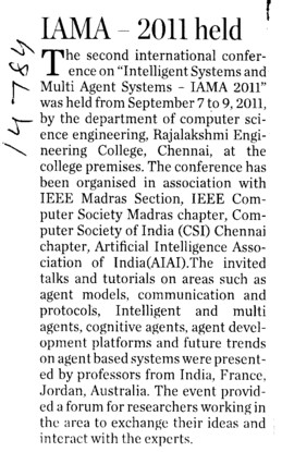 IAMA 2011 held (Rajalakshmi Engineering College)
