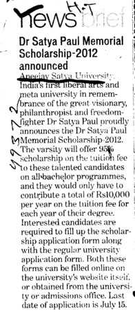 Dr Satya Paul Memorial Scholarship 2012 announced (Apeejay Stya University)