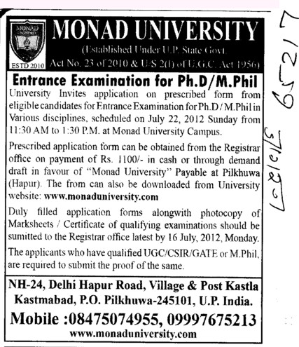 PhD and M Phil Courses (Monad University)