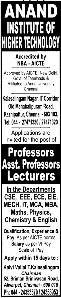 Professor, Asstt Professor and Associate Professor etc (Anand Institute Of Higher Technology)