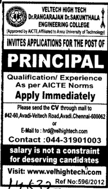 Experienced Principal (VEL Tech Multi Tech Dr RR and Dr SR Engineering College)