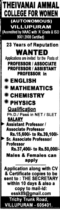Professor, Asstt Professor and Associate Professor etc (Theivanai Ammal College for Women)