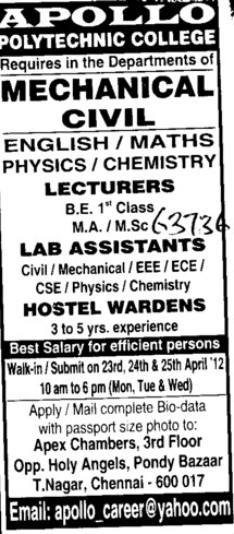 Leturer, Lab Asstt and Hostel Warden etc (Apollo Polytechnic College)