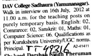 Teaching Positions on temporary basis (DAV College)
