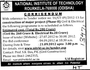 Regarding Tender (National Institute of Technology (NIT))