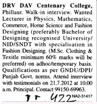 Lecturer for PCM (DRV DAV Centenary College)