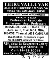 Professor, Asstt Professor and Associate Professor etc (Thiruvalluvar College of Engineering and Technology)