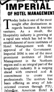 Imperial of Hotel Management (Imperial Institute of Hotel Management)