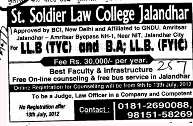 BA and LLB Courses (St Soldier Law College)