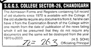 Admission forms and Registers containing full record of old students (SGGS Khalsa College Sector 26)