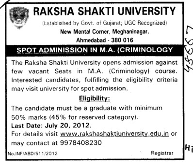MA in Criminology (Raksha Shakti University)