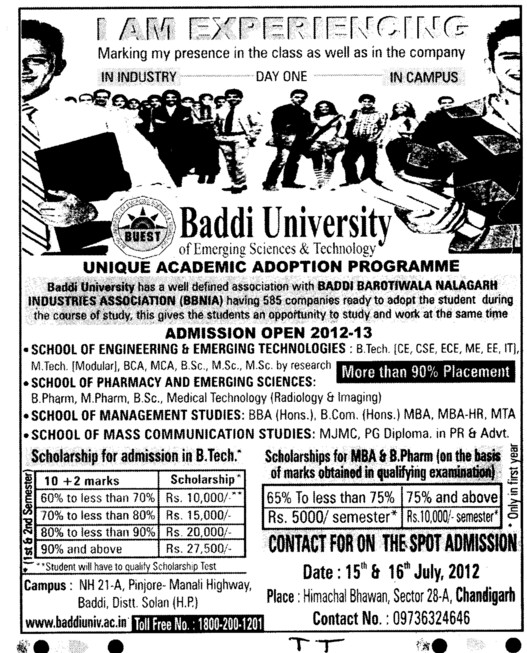 BTech, Mtech and MBA Courses etc (Baddi University of Emerging Sciences and Technologies)