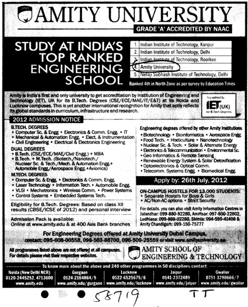 BTech and MTech Courses (Amity University Manesar)