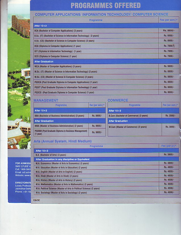 BCA, BSc IT and MSc IT Courses etc (Lovely Professional University LPU)