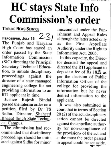 HC stays State onfo Commissions order (Shaheed Bhagat Singh State (SBBS) Technical Campus)