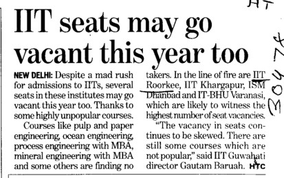 IIT seats may go vacant this year too (Indian Institute of Technology (IITR))