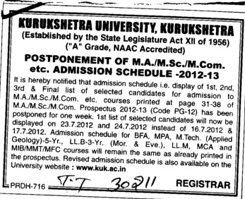 MA, MSc and MCom Courses etc (Kurukshetra University)