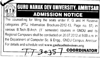 BTech and B Arch Courses (Guru Nanak Dev University (GNDU))
