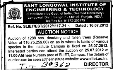 Auction Notice (Sant Longowal Institute of Engineering and Technology SLIET)