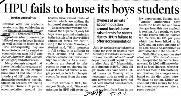 HPU fails to house its boys students (Himachal Pradesh University)