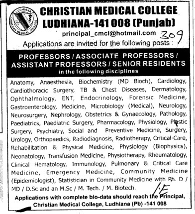 Professor, Asstt Professor and Associate Professor etc (Christian Medical College and Hospital (CMC))