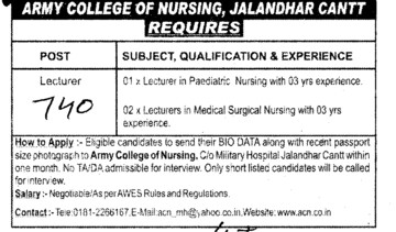 Lecturer (Army College of Nursing)