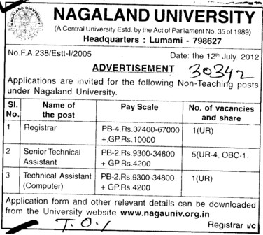 Registrar, Senior Asstt and Technical Asstt etc (Nagaland University)