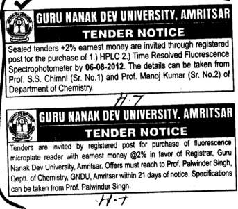 Purchase of Flurescence microplate reader (Guru Nanak Dev University (GNDU))