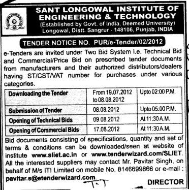 Technical Bid and Financial Bid (Sant Longowal Institute of Engineering and Technology SLIET)