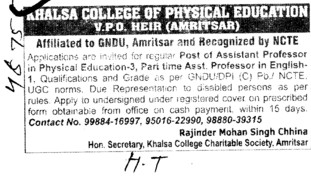 Asstt Professor for various streams\ (Khalsa College of Physical  Education)