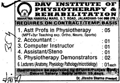 Asstt Professor, Accountant and Steno etc (DAV Institute of Physiotherapy and Rehabilitation)