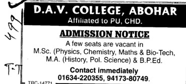 MSc, MA and BPEd Courses etc (DAV College)