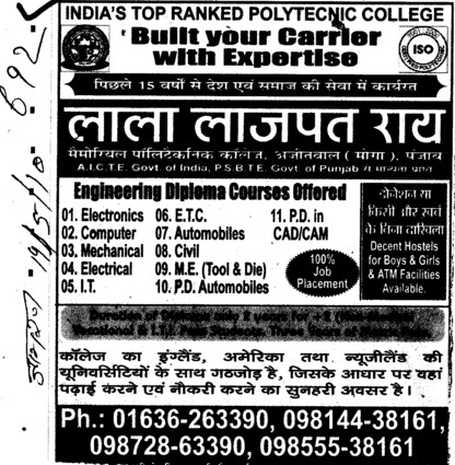 BTech in various streams (Lala Lajpat Rai Memorial Polytechnic College)