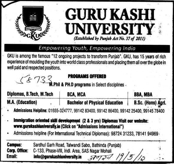 BBA, BCA, MBA and MA Courses etc (Guru Kashi University)