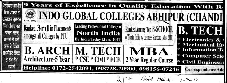 B Arch, MTech and MBA Courses etc (Indo Global College of Engineering)