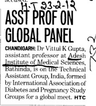 Asstt Professor on Global Panel (Adesh Institute of Medical Sciences and Research)