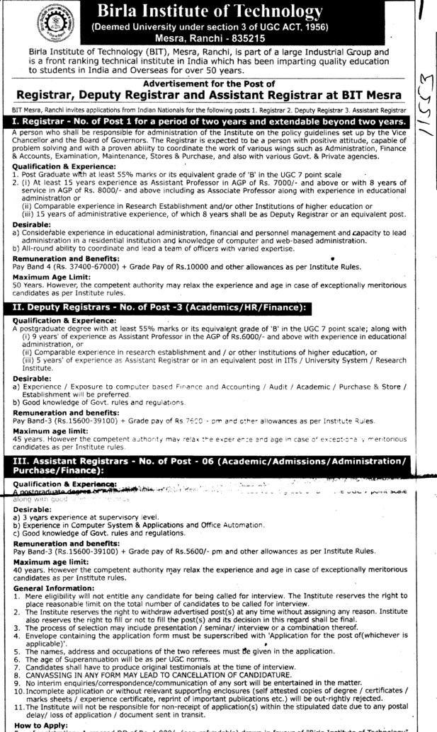 Registrar, Deputy Registrar and Asstt registrar etc (Birla Institute of Technology (BIT Mesra))