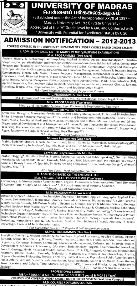 MSc and PG Diploma Programmes etc (University of Madras)