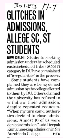 Glitches in admissions, allege SC, ST Students (Delhi University)