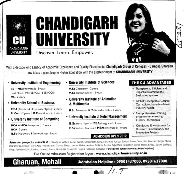 BE, ME, MBA and MCA Course setc (Chandigarh University)